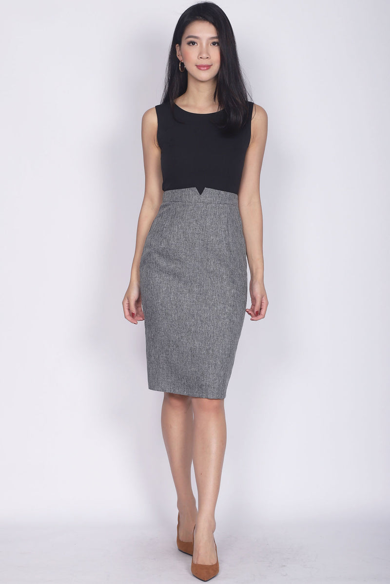 Honora Tweed Block Pencil Dress In Black