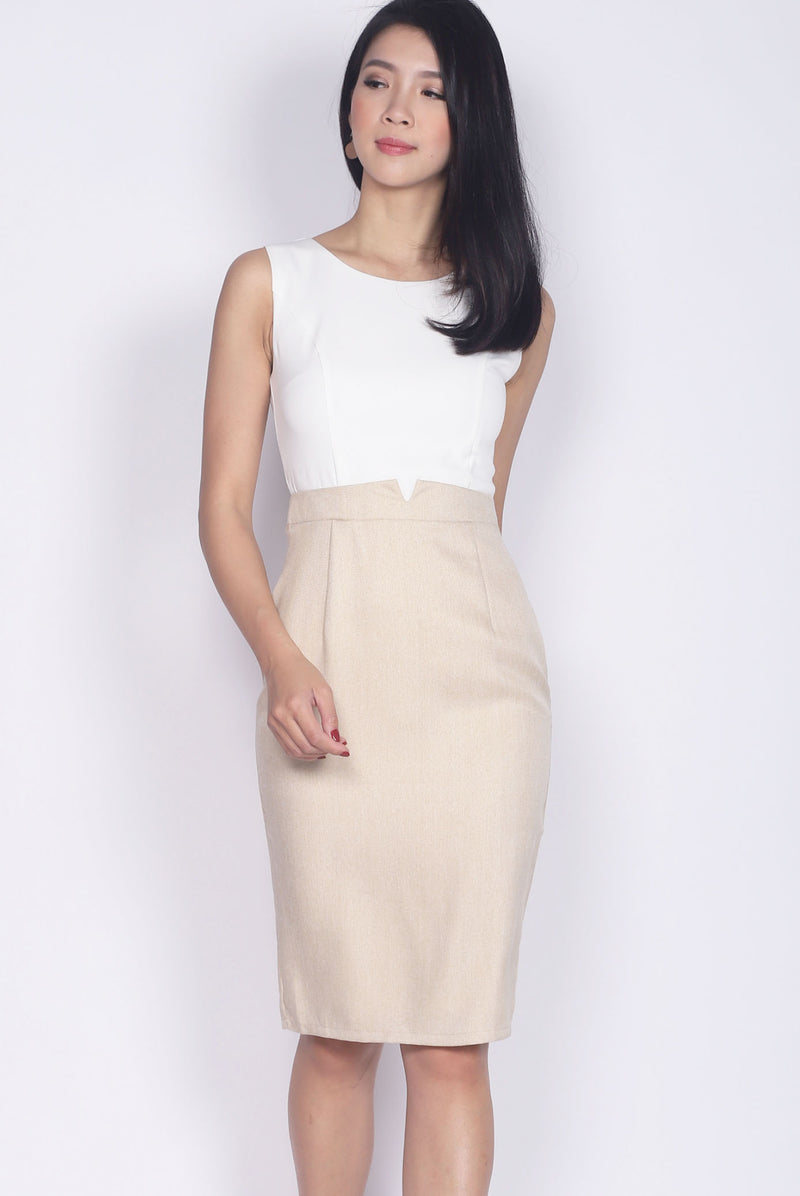 Honora Tweed Block Pencil Dress In Cream