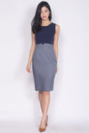 Honora Tweed Block Pencil Dress In Navy Blue