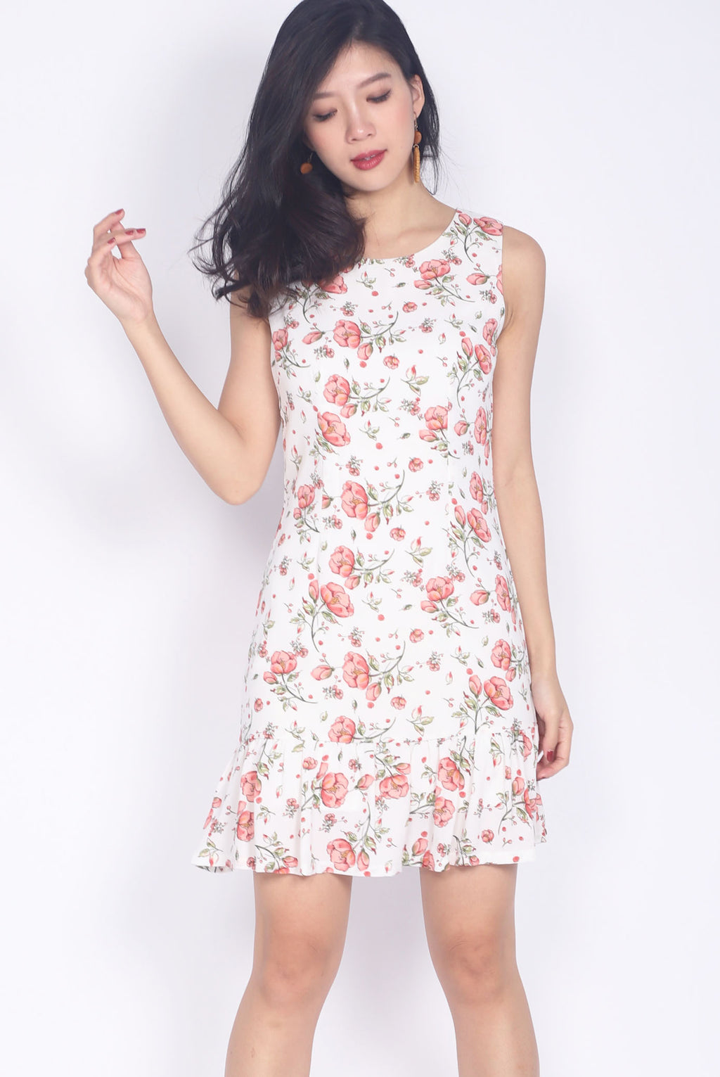 Horatia Red Floral Drop Hem Dress In White