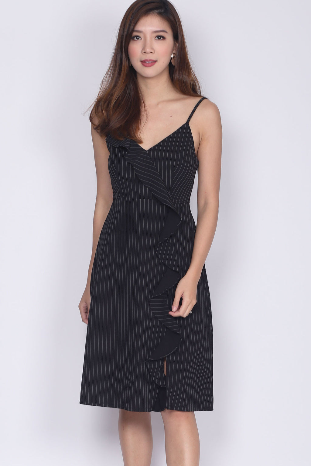 Huette Ruffle Down Spag Dress in Black Stripes
