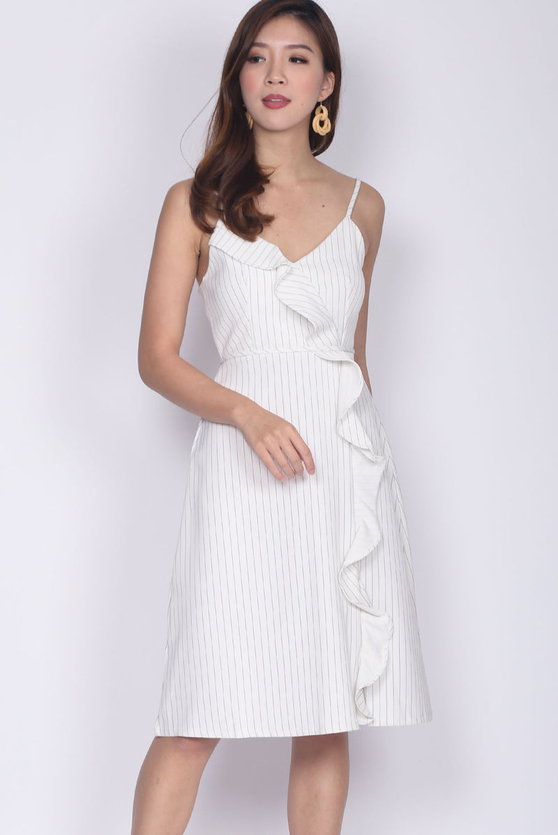 Huette Ruffle Down Spag Dress in White Stripes