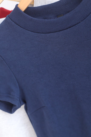 Begonia Basic Sleeve Top In Navy Blue