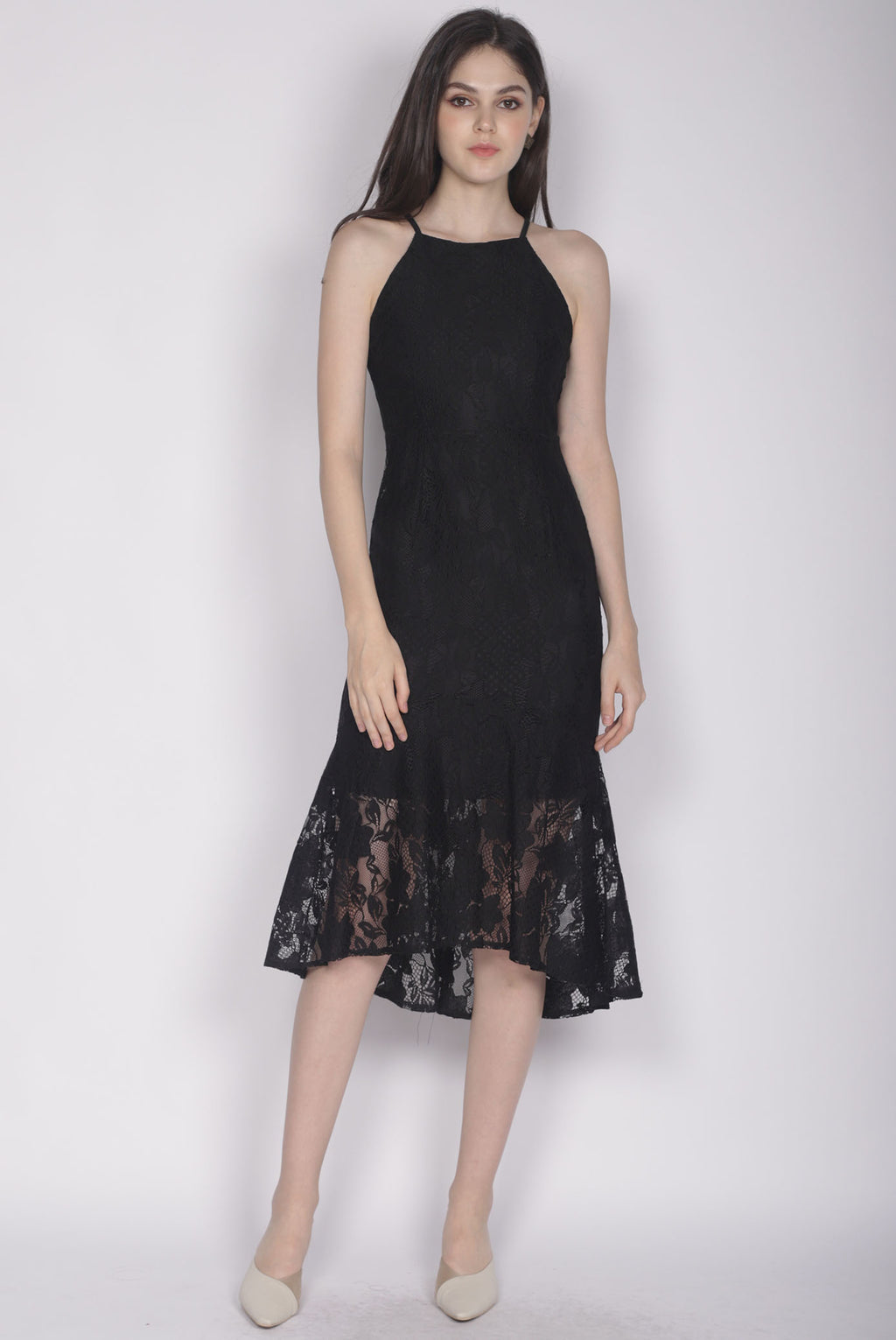 Ianto Lace Mermaid Dress In Black