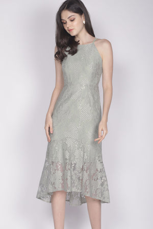 Ianto Lace Mermaid Dress In Sage