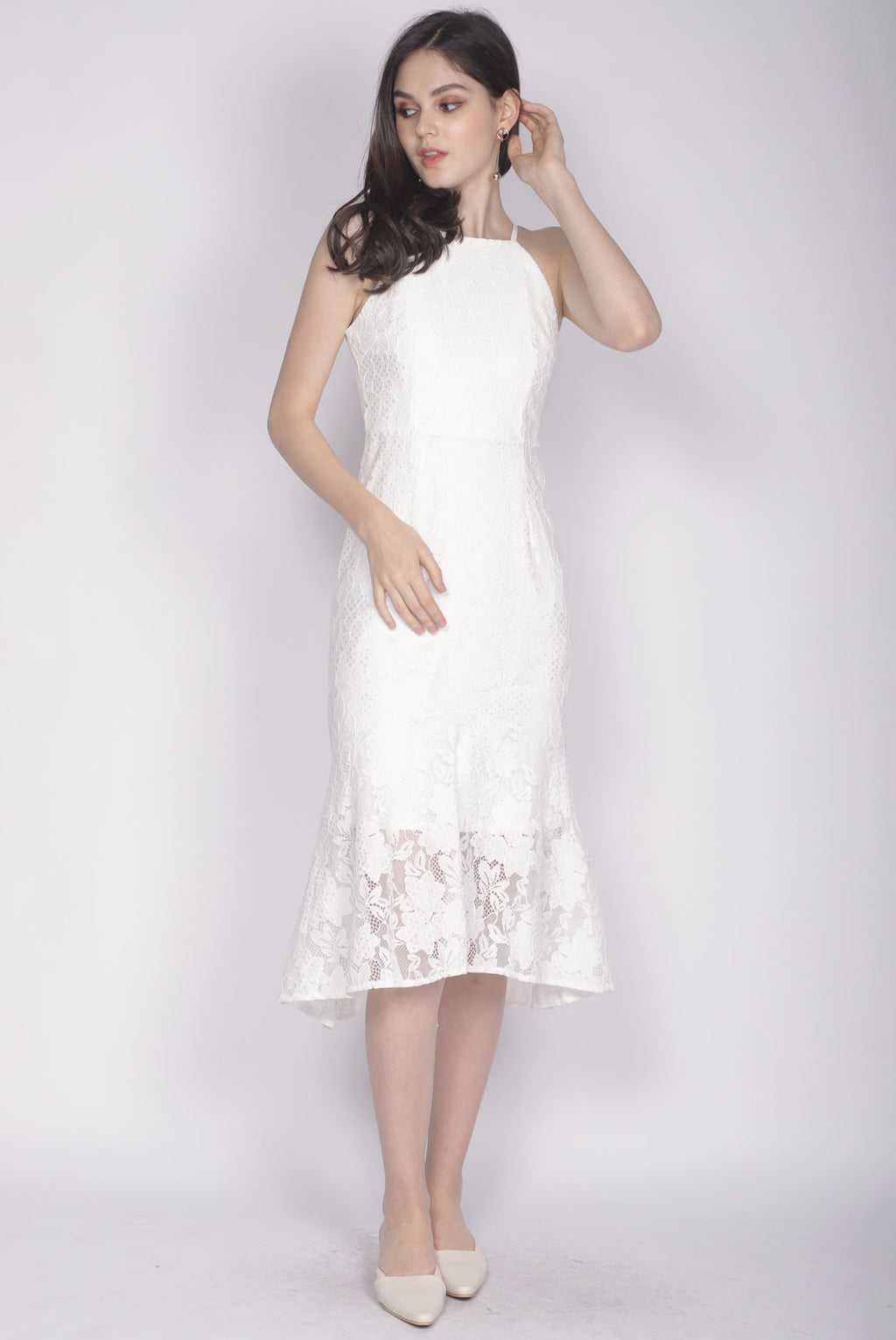 Ianto Lace Mermaid Dress In White