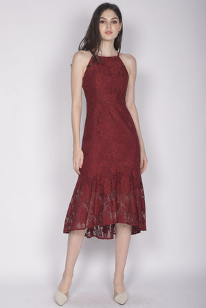 Ianto Lace Mermaid Dress In Wine Red
