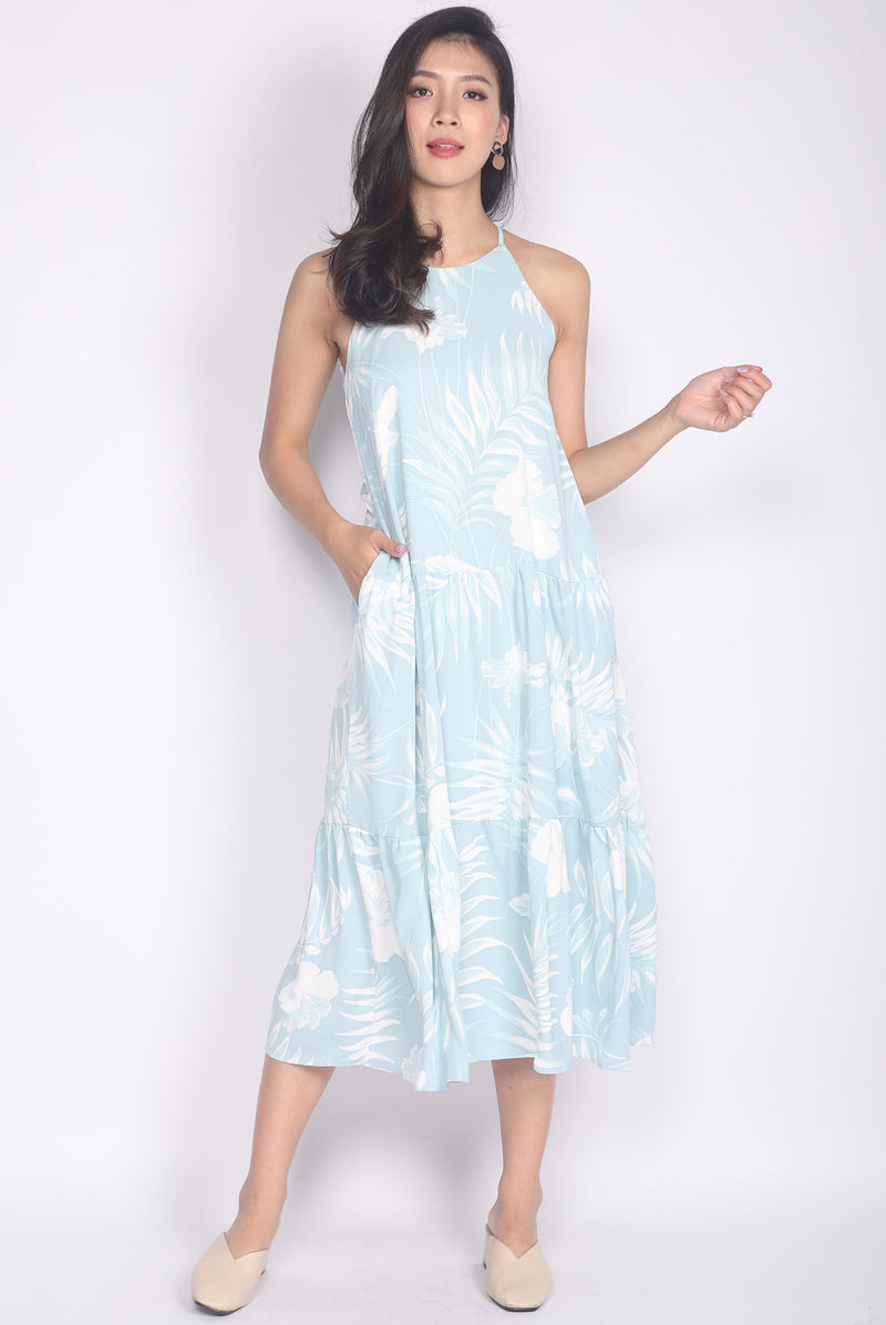 Idalys Leafy Halter Dress In Skyblue
