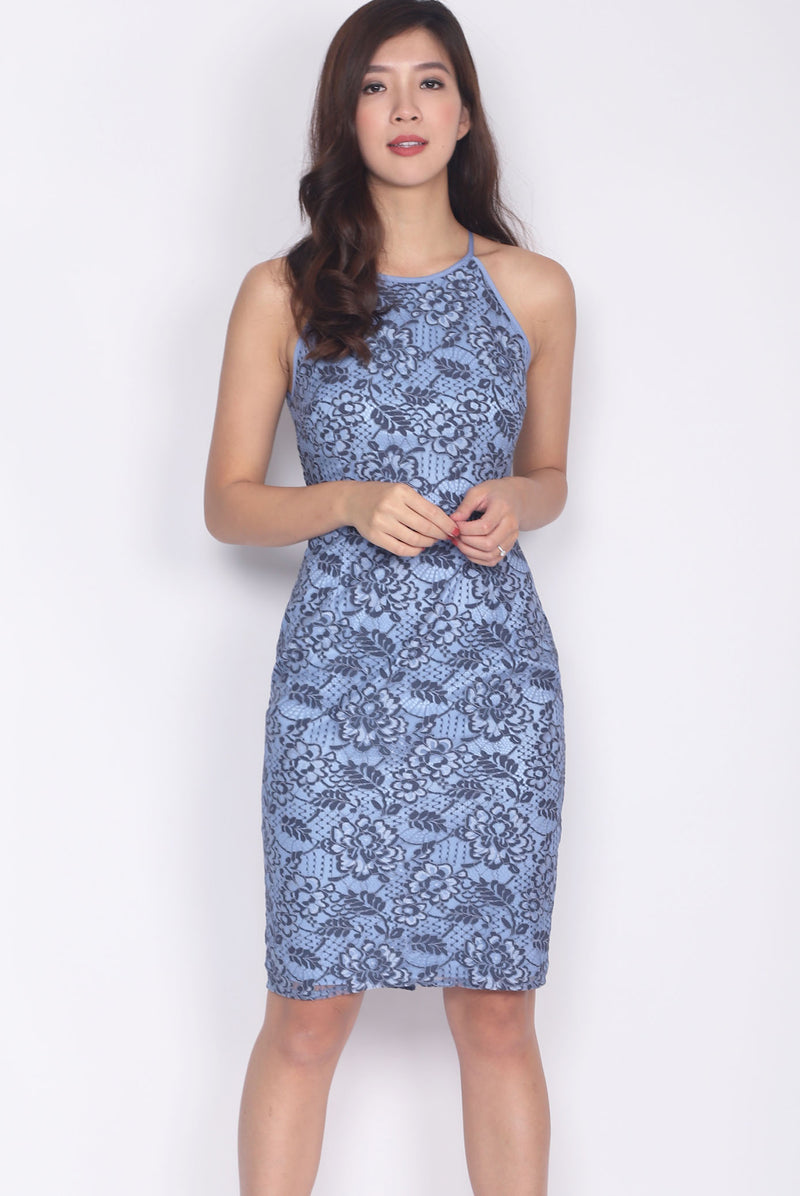 Idonia Halter Lace Dress In Dark Blue