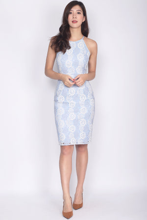 Idonia Halter Lace Dress In Skyblue