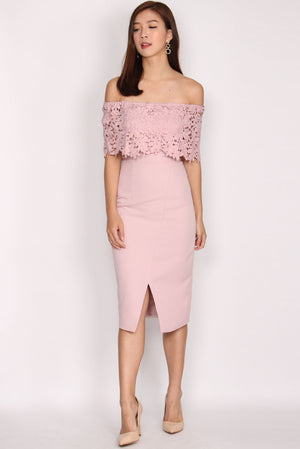Imelda Crochet Off Shoulder Pencil Dress In Blush