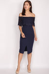 Imelda Crochet Off Shoulder Pencil Dress In Navy Blue