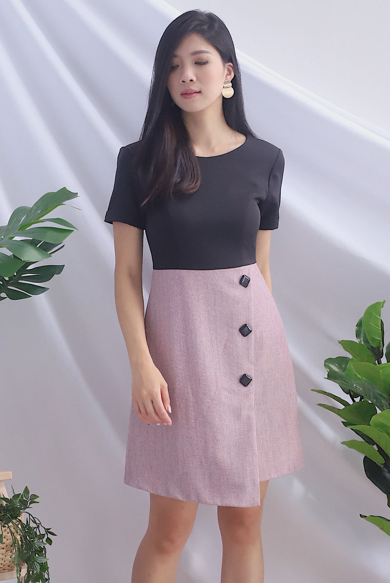 Iowa Tweed Block Sleeved Buttons Dress In Black/Pink
