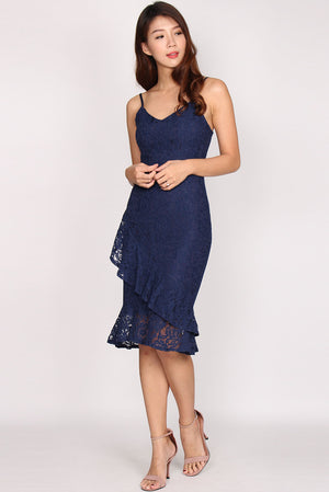 Iretia Lace Mermaid Dress In Navy Blue