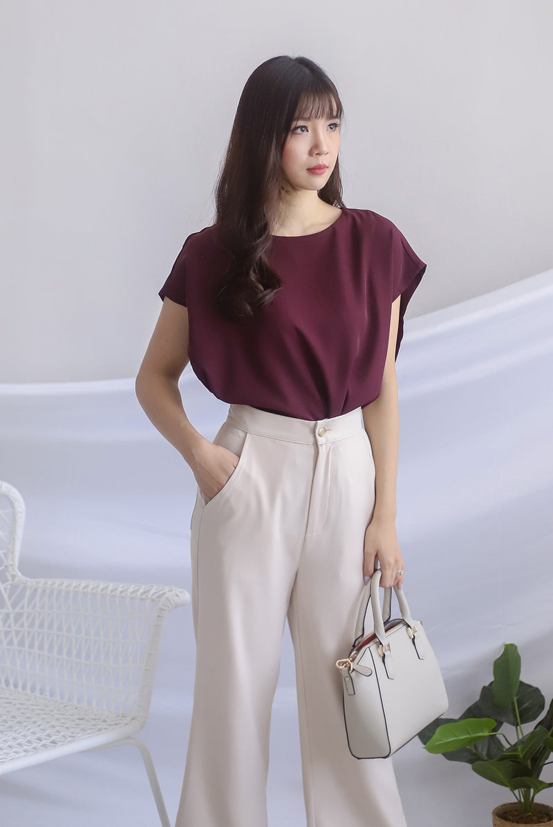 Irys Batwing Top In Deep Wine