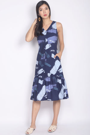 Isabeau Brush Abstract Buttons Midi Dress In Navy Blue