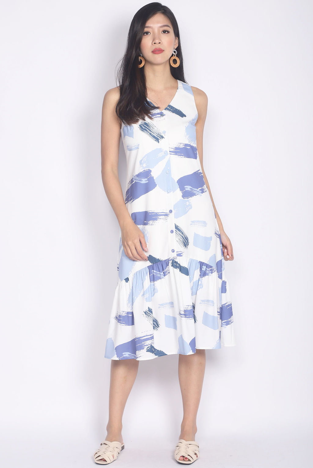 Isabeau Brush Abstract Buttons Midi Dress In White