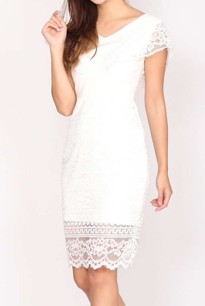 Isadora Lace Pencil Dress In White