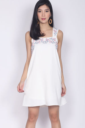 Isolde Embro Strap Dress In White