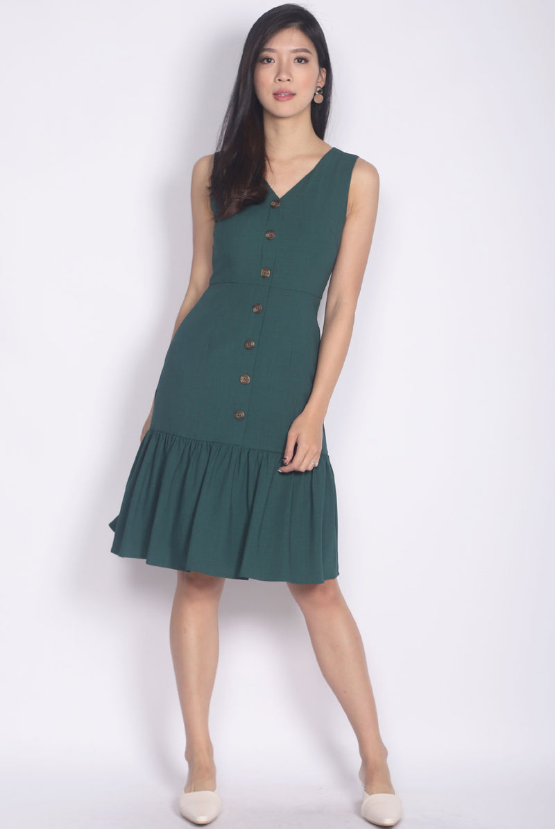 Italia Buttons Drop Hem Buttons Dress In Forest Green