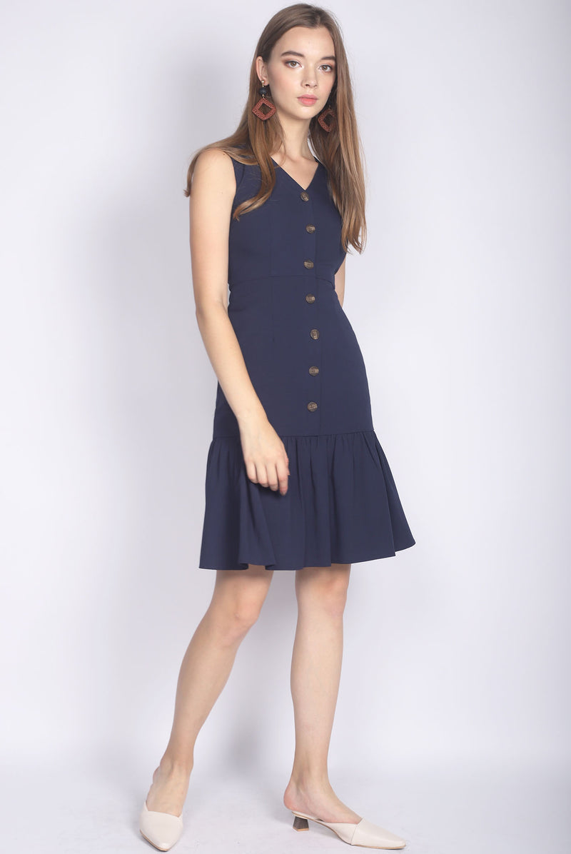 Italia Buttons Drop Hem Buttons Dress In Navy Blue