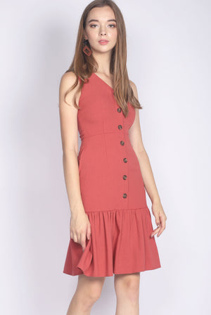 Italia Buttons Drop Hem Buttons Dress In Tea Rose
