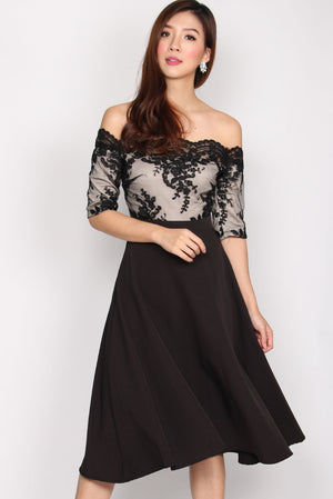 Lythronel Mesh Sleeve Flare Dress In Black