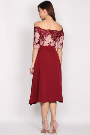 Lythronel Mesh Sleeve Flare Dress In Wine Red