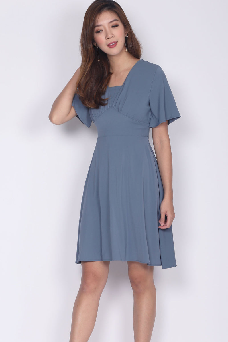 Jacinda Kimono Sleeved Dress In Ash Blue