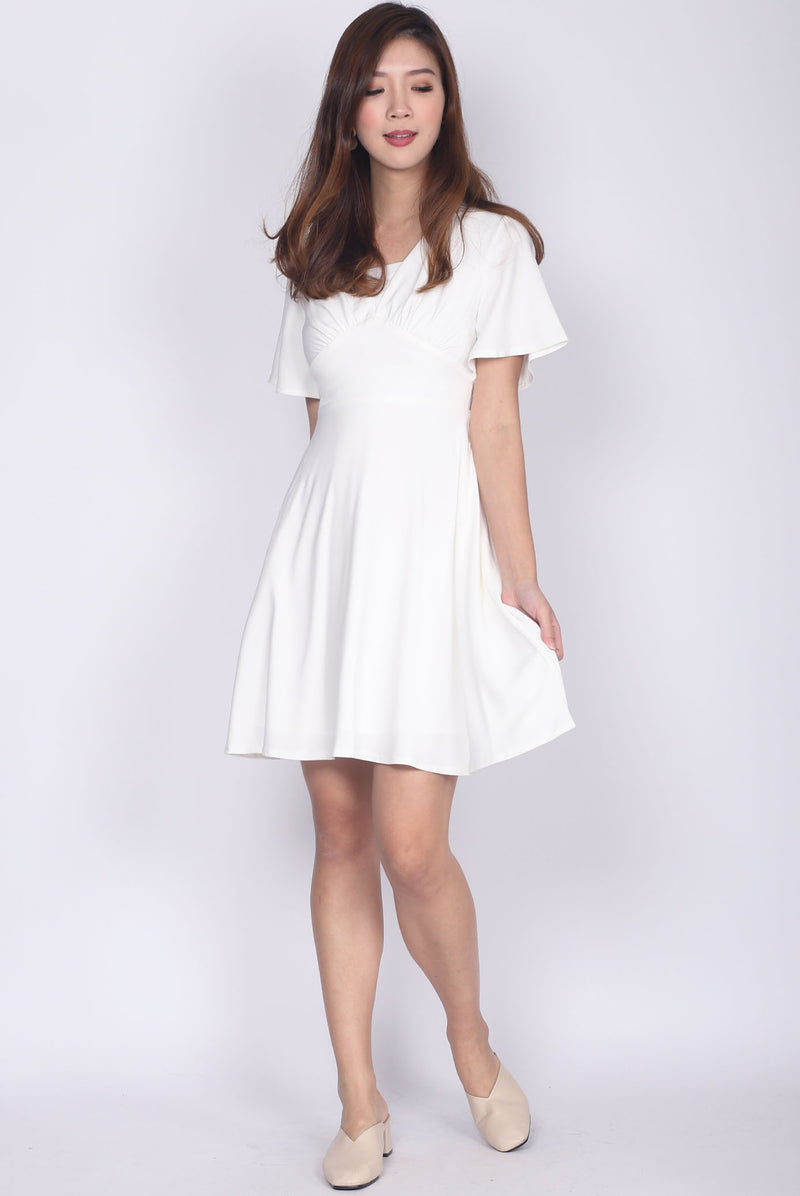 Jacinda Kimono Sleeved Dress In White