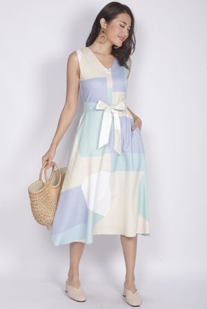 Jacinta Abstract Buttons Flare Dress