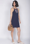 Jadeyn Embroidery Tank Dress In Navy Blue