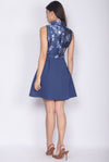 *Premium* Jadie Oriental Emboss Cheong Sam Dress In Navy Blue