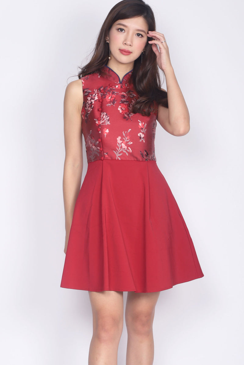 *Premium* Jadie Oriental Emboss Cheong Sam Dress In Wine Red