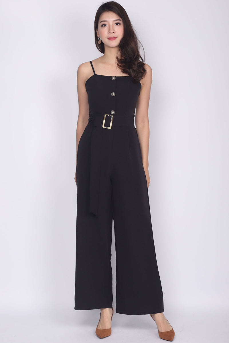 Jaione Buttons Belted Jumpsuit In Black