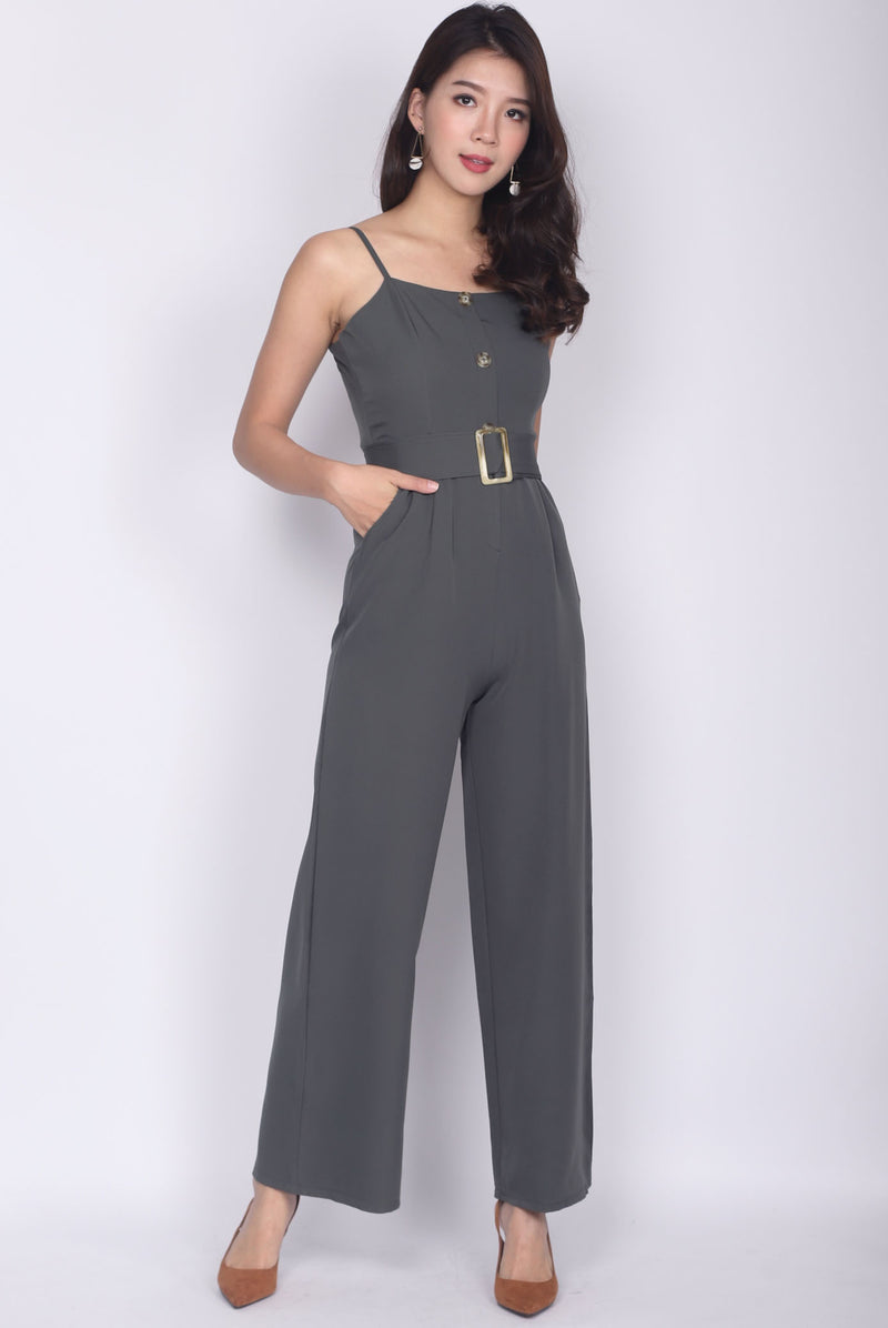 Jaione Buttons Belted Jumpsuit In Olive