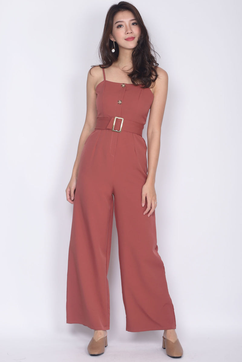 Jaione Buttons Belted Jumpsuit In Tea Rose