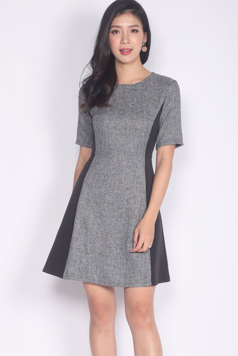 Jalisa Tweed Block Sleeved Flare Dress In Black