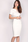 *Restock* Janae Zip Up Border Pencil Dress In White