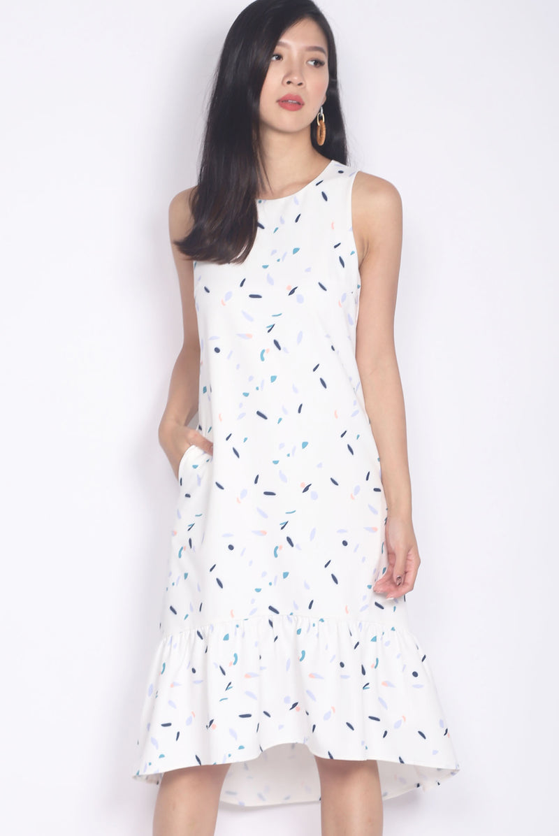Janelle Confetti Hi-low Hem Midi Dress In White