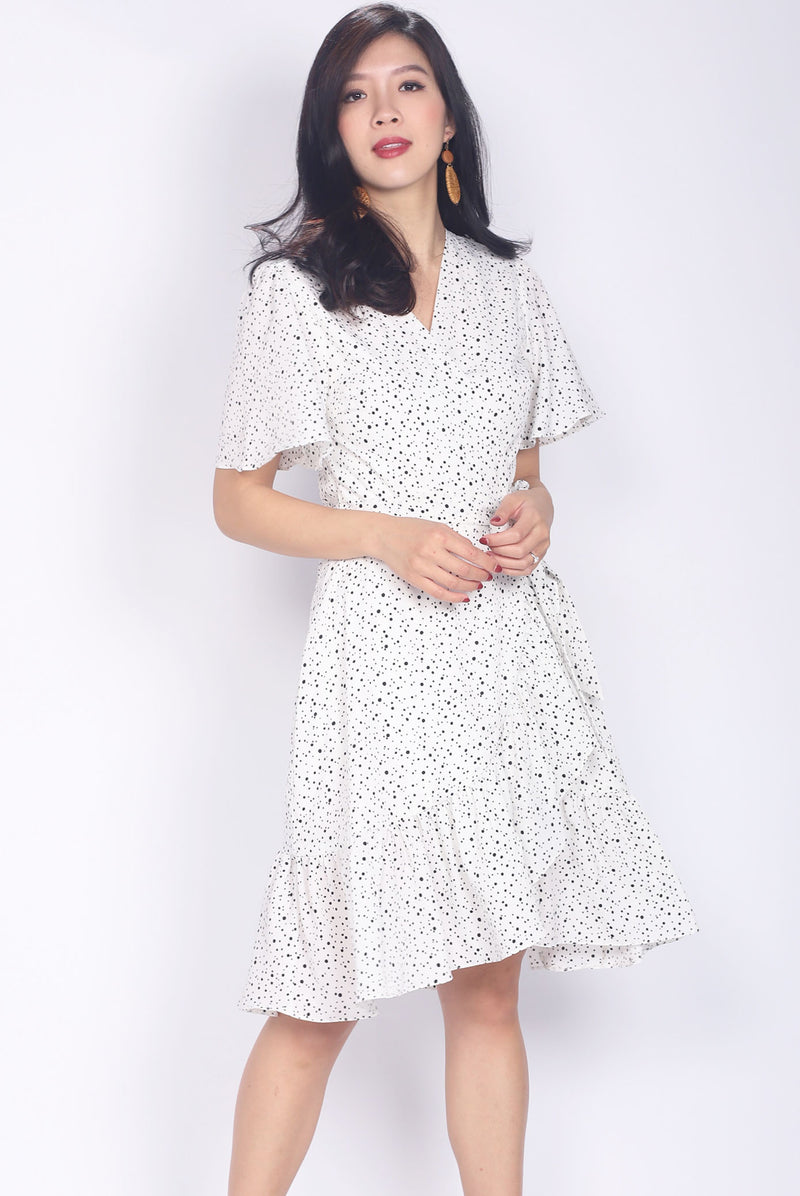 Jansen Dots Sleeve Wrap Dress In White