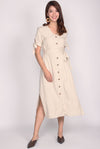Jasleen Tie Sleeve Buttons Linen Dress In Wheat