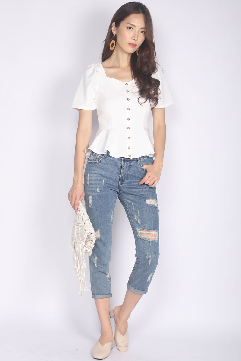 *BACKORDER* Jaslene Buttons Peplum Top In White