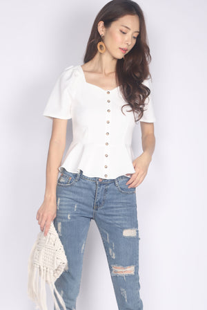 *Restocked* Jaslene Buttons Peplum Top In White