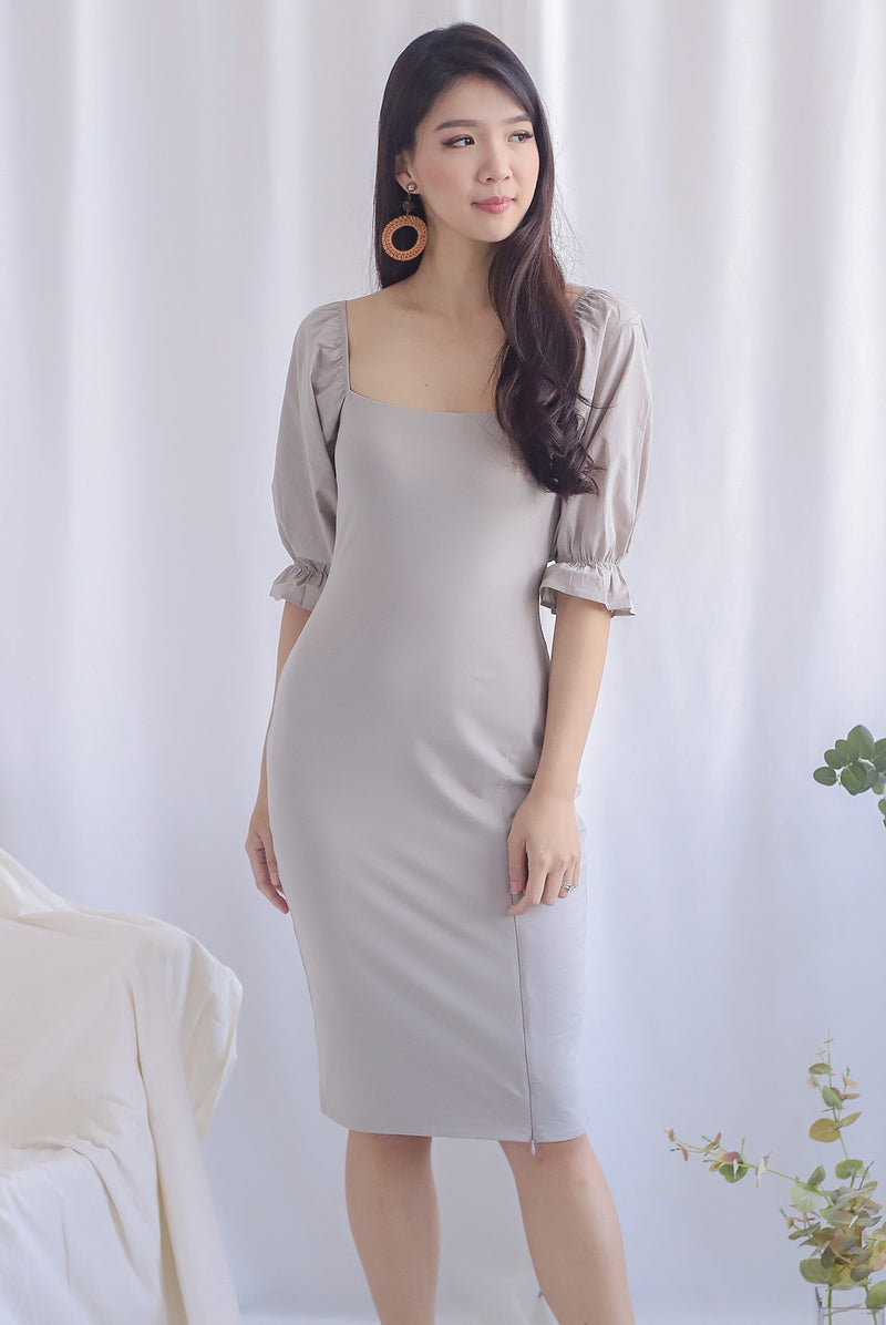 Jayla Puffy Sleeve Slit Dress In Taupe