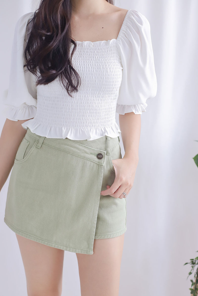Jaylie Denim Skorts In Apple Green