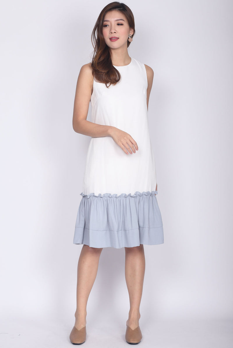 Jendyose Colour Block Drop Waist Dress In White
