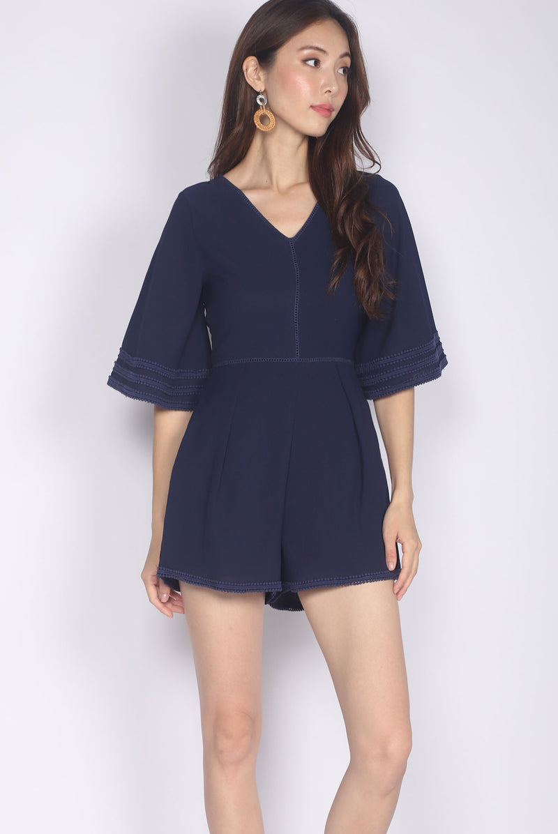 Jennabelle Lattice Sleeved Romper In Navy Blue