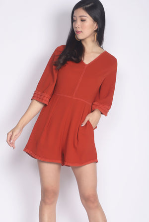 Jennabelle Lattice Sleeved Romper In Rust