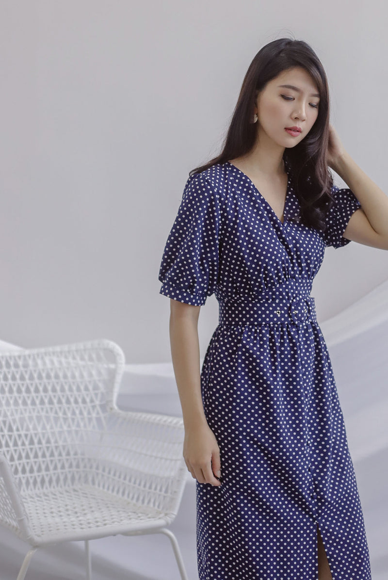 Jessie Polkadot Belted Dress In Navy Blue